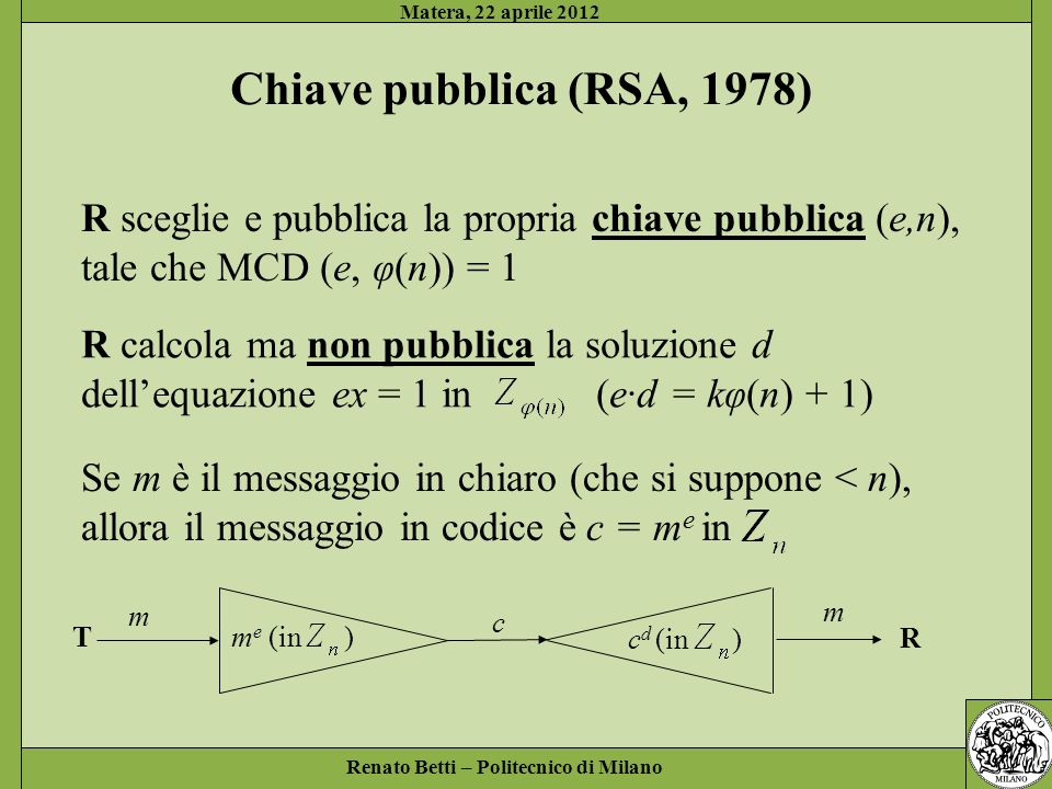 Matera, 22 aprile 2012 Chiave pubblica (RSA, 1978) R sceglie e pubblica la propria chiave pubblica (e,n),