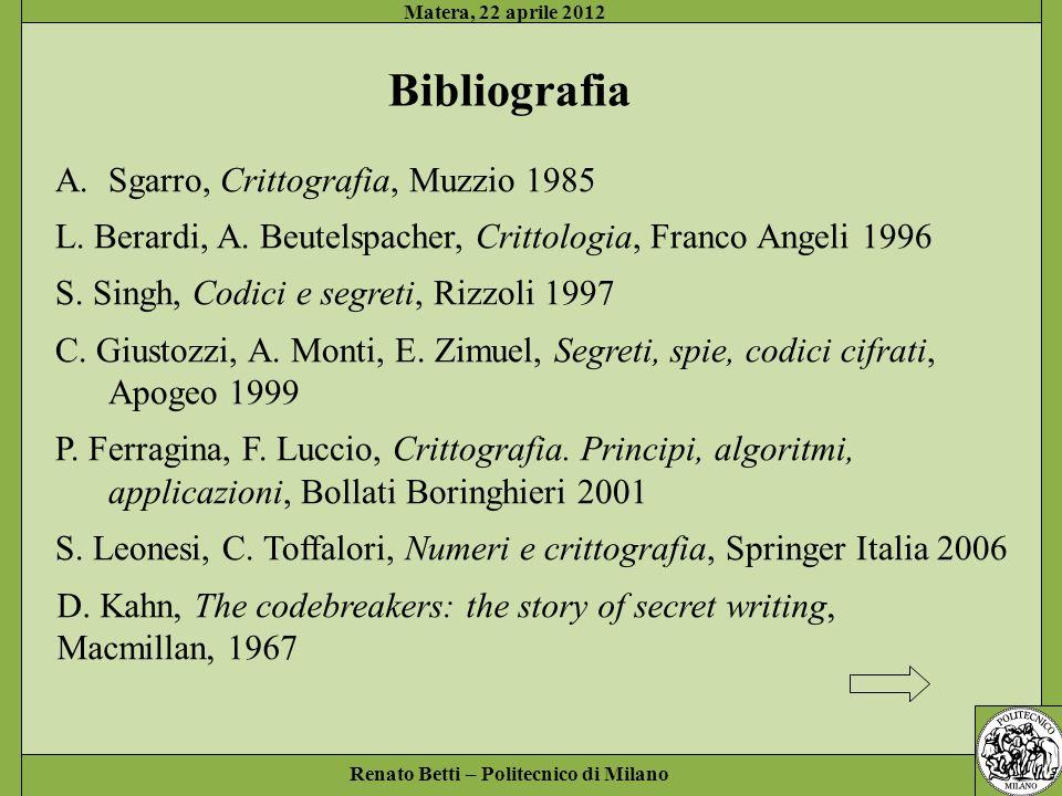 Bibliografia Sgarro, Crittografia, Muzzio 1985