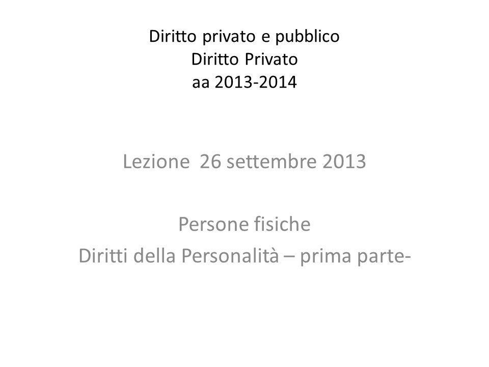 Diritto privato e pubblico Diritto Privato aa 2013-2014