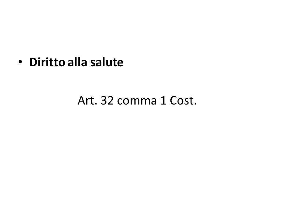 Diritto alla salute Art. 32 comma 1 Cost.