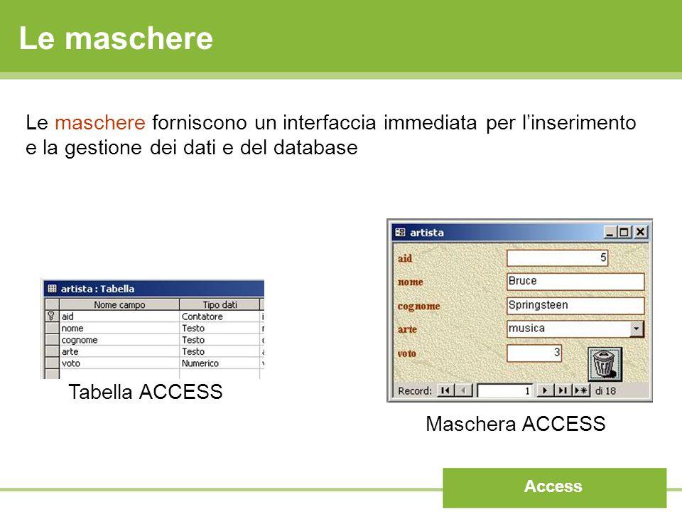 Le maschere Le maschere forniscono un interfaccia immediata per l'inserimento e la gestione dei dati e del database.