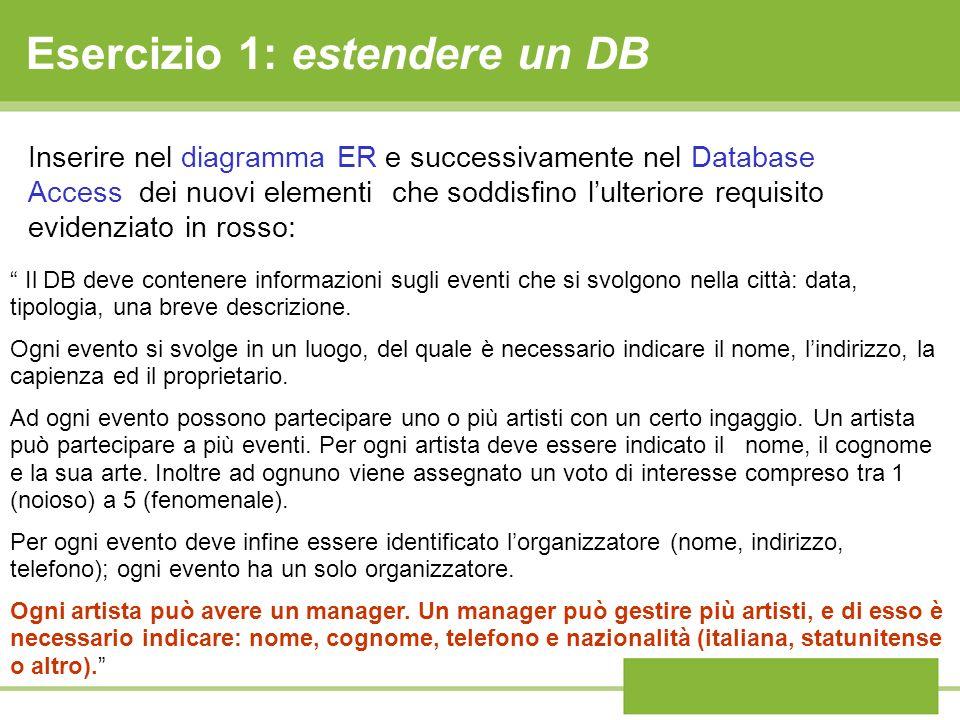 Esercizio 1: estendere un DB