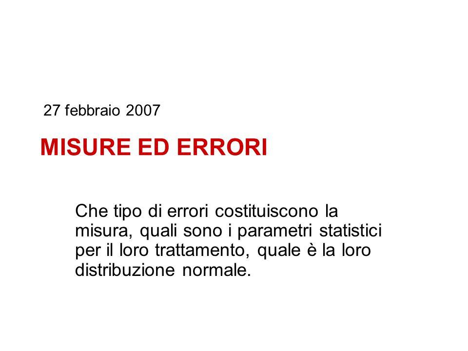 27 febbraio 2007 MISURE ED ERRORI.