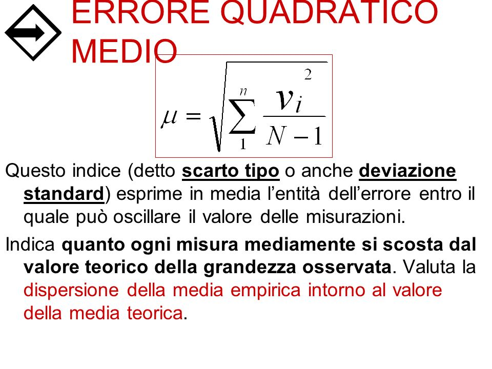 ERRORE QUADRATICO MEDIO
