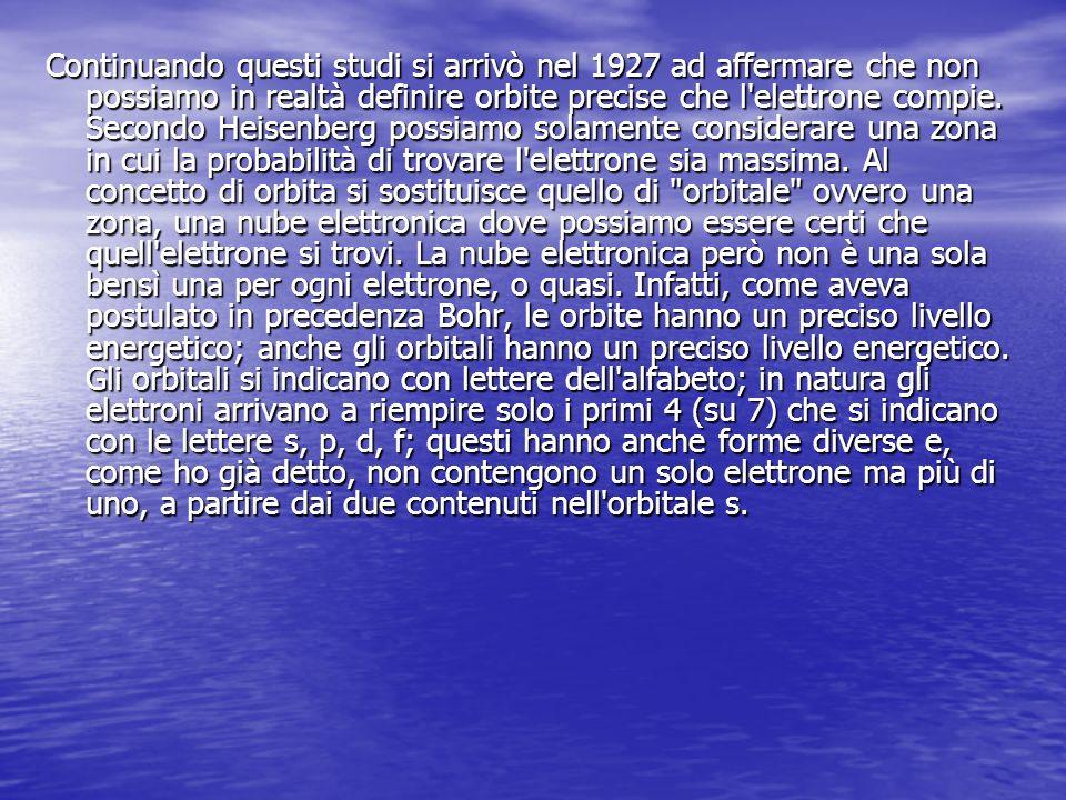 Continuando questi studi si arrivò nel 1927 ad affermare che non possiamo in realtà definire orbite precise che l elettrone compie.