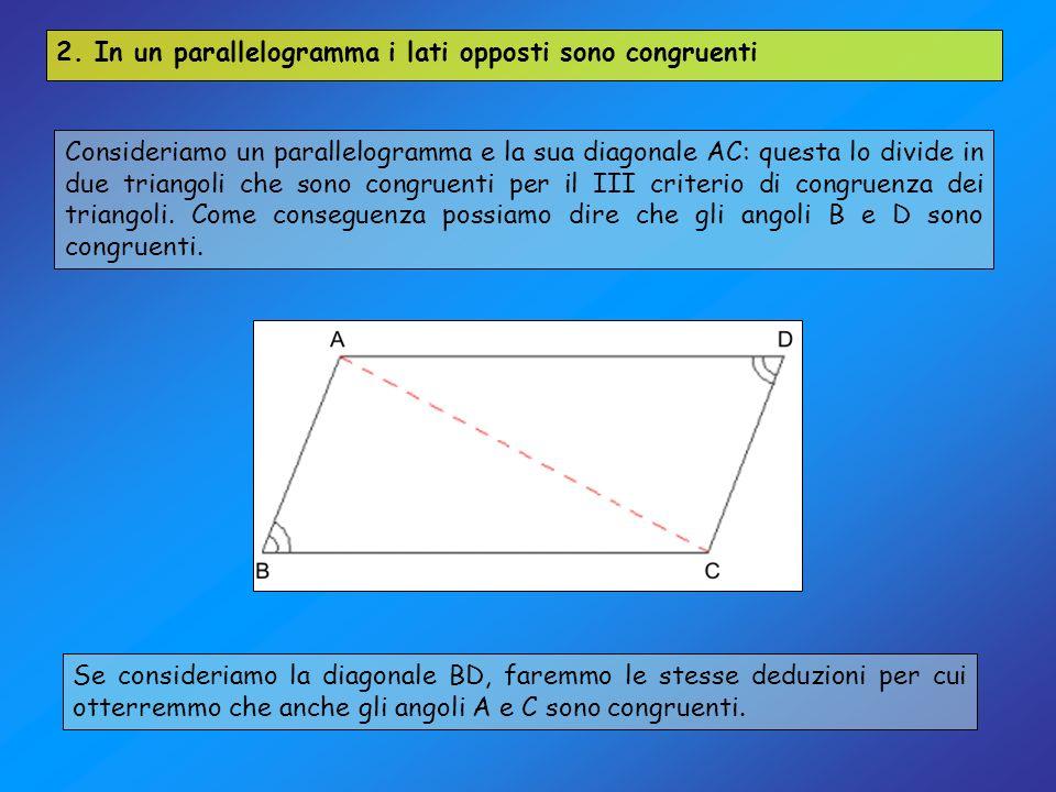 2. In un parallelogramma i lati opposti sono congruenti