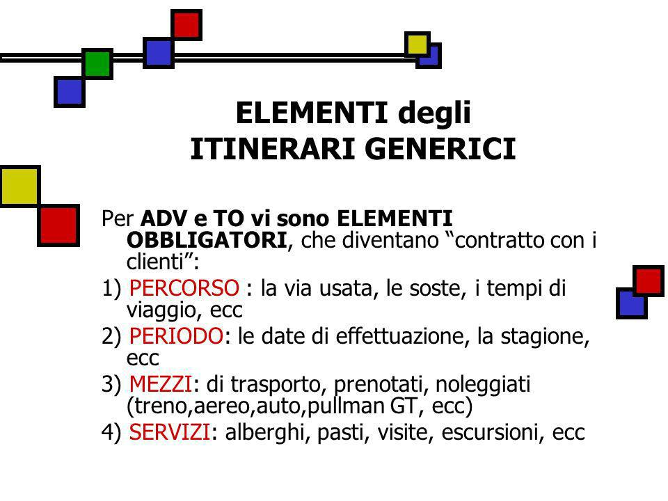 ELEMENTI degli ITINERARI GENERICI