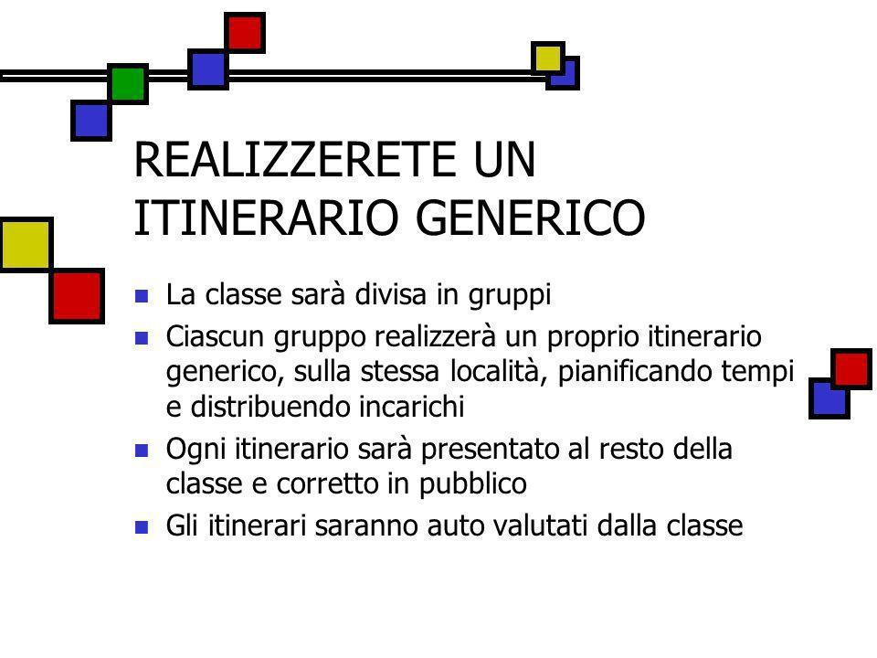 REALIZZERETE UN ITINERARIO GENERICO