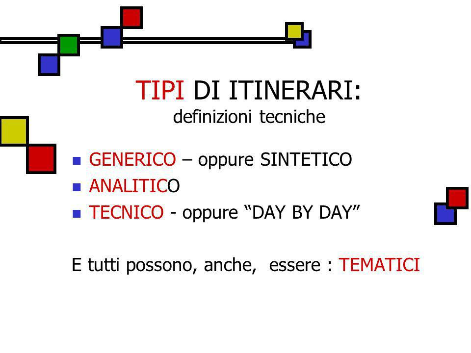 TIPI DI ITINERARI: definizioni tecniche