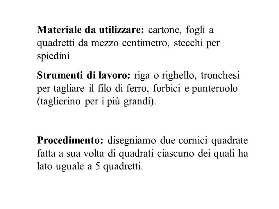 Materiale da utilizzare: cartone, fogli a quadretti da mezzo centimetro, stecchi per spiedini