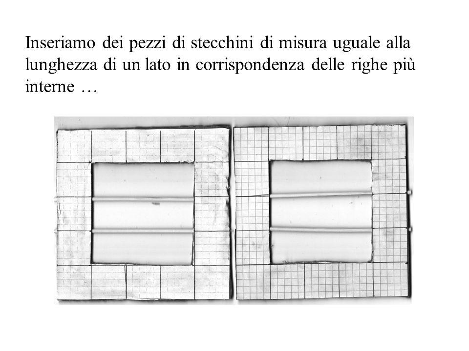 Inseriamo dei pezzi di stecchini di misura uguale alla lunghezza di un lato in corrispondenza delle righe più interne …