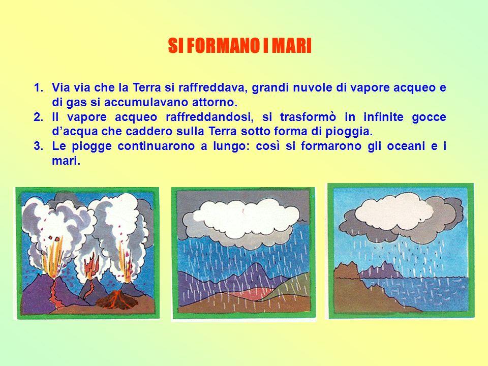 SI FORMANO I MARI Via via che la Terra si raffreddava, grandi nuvole di vapore acqueo e di gas si accumulavano attorno.