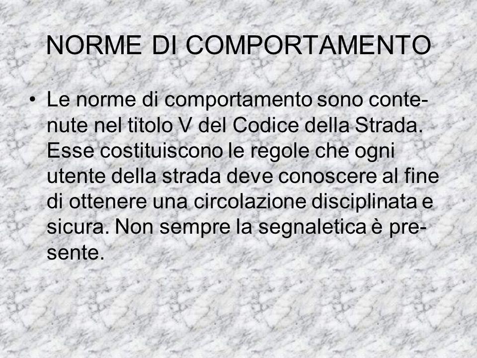 NORME DI COMPORTAMENTO