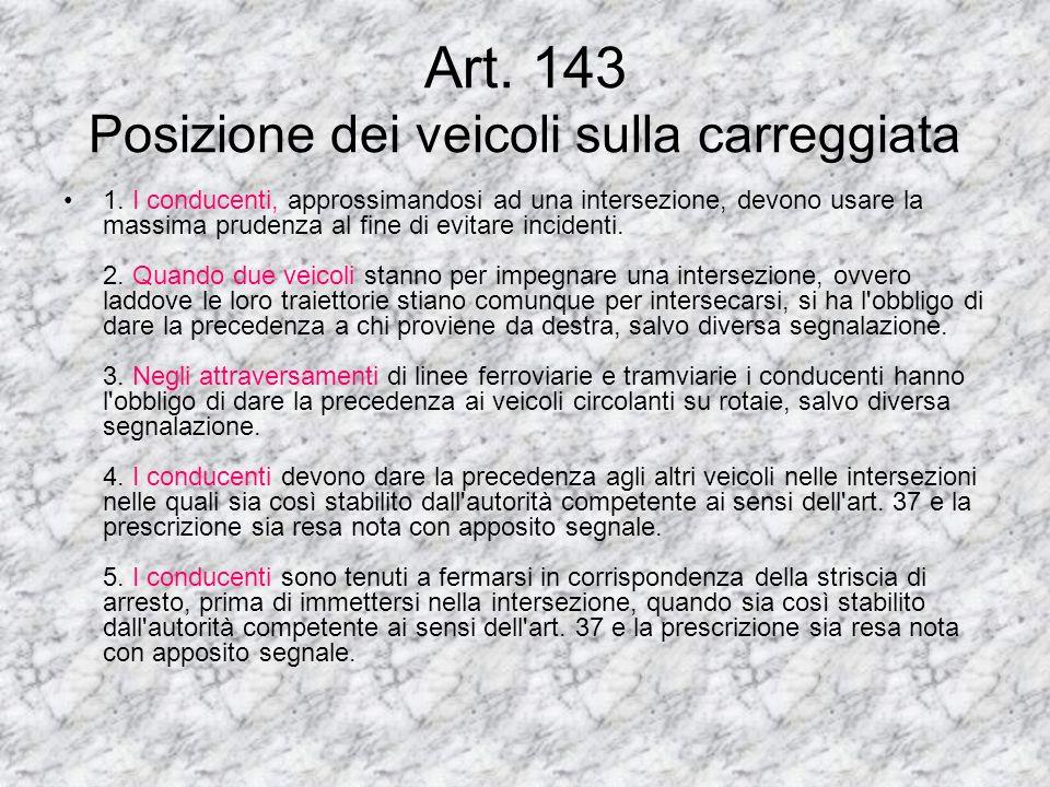 Art. 143 Posizione dei veicoli sulla carreggiata
