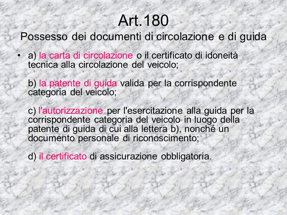 Art.180 Possesso dei documenti di circolazione e di guida