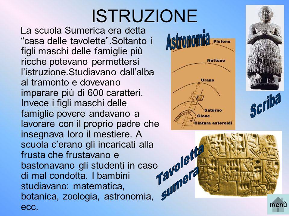 ISTRUZIONE Astronomia Scriba Tavoletta sumera