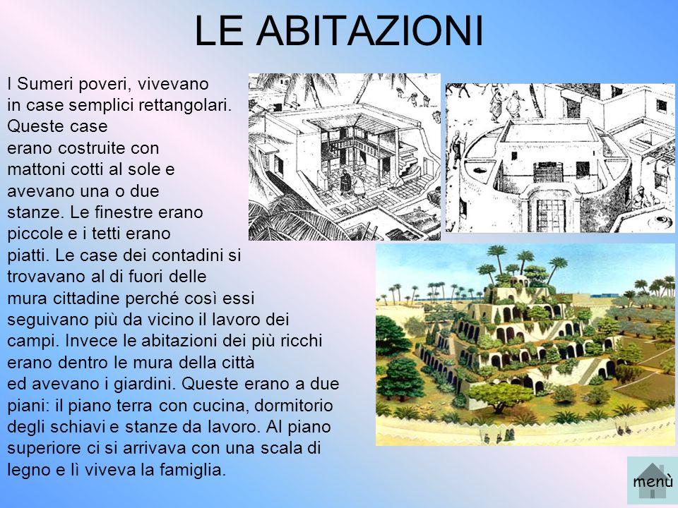 LE ABITAZIONI I Sumeri poveri, vivevano in case semplici rettangolari.
