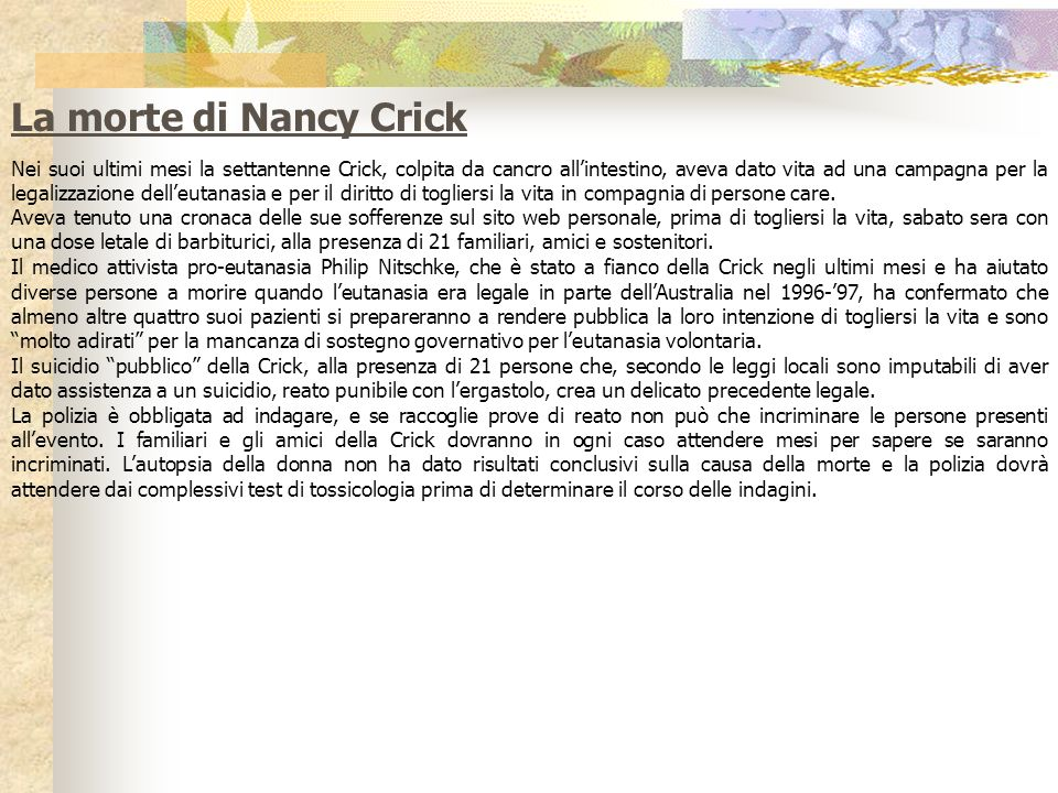 La morte di Nancy Crick