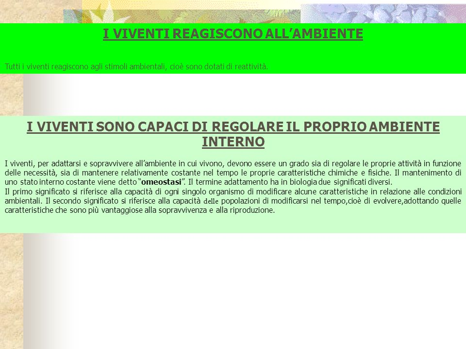 I VIVENTI REAGISCONO ALL'AMBIENTE