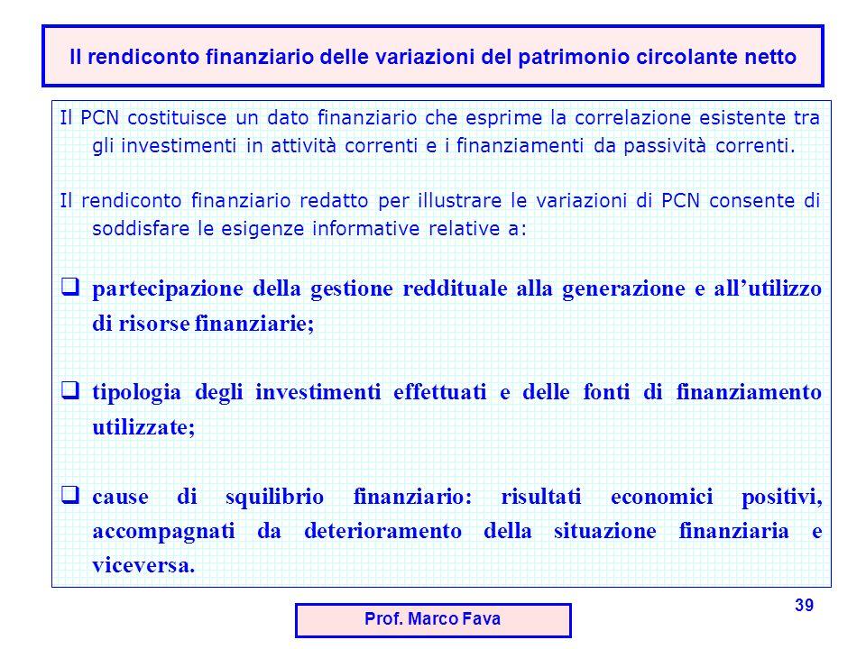 Il rendiconto finanziario delle variazioni del patrimonio circolante netto