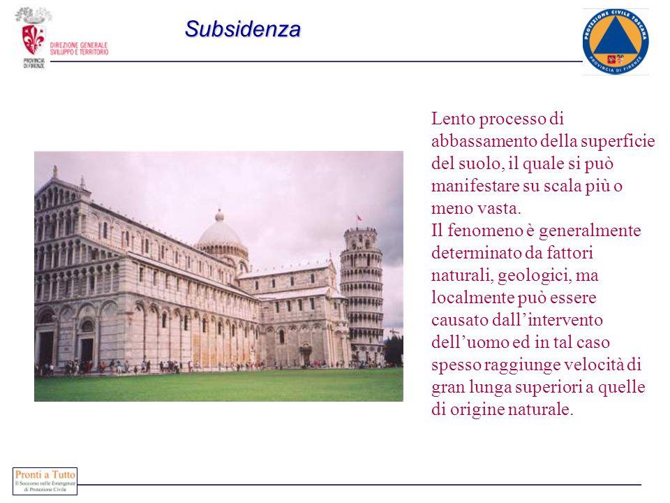 Subsidenza Lento processo di abbassamento della superficie del suolo, il quale si può manifestare su scala più o meno vasta.