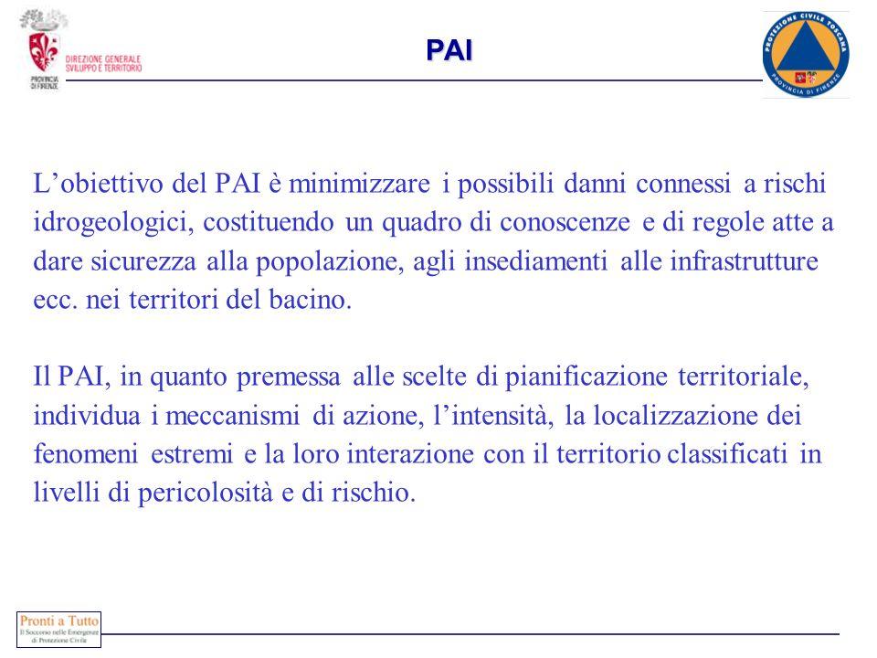 PAI L'obiettivo del PAI è minimizzare i possibili danni connessi a rischi. idrogeologici, costituendo un quadro di conoscenze e di regole atte a.