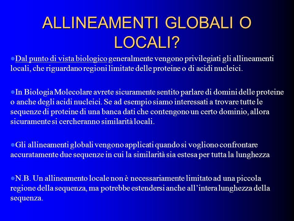 ALLINEAMENTI GLOBALI O LOCALI