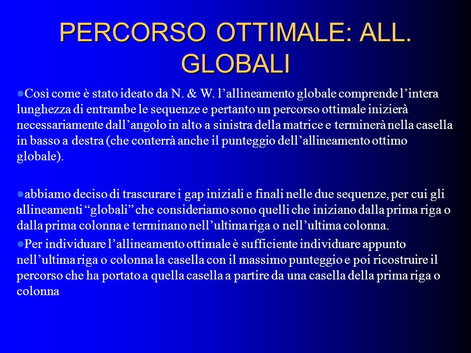 PERCORSO OTTIMALE: ALL. GLOBALI