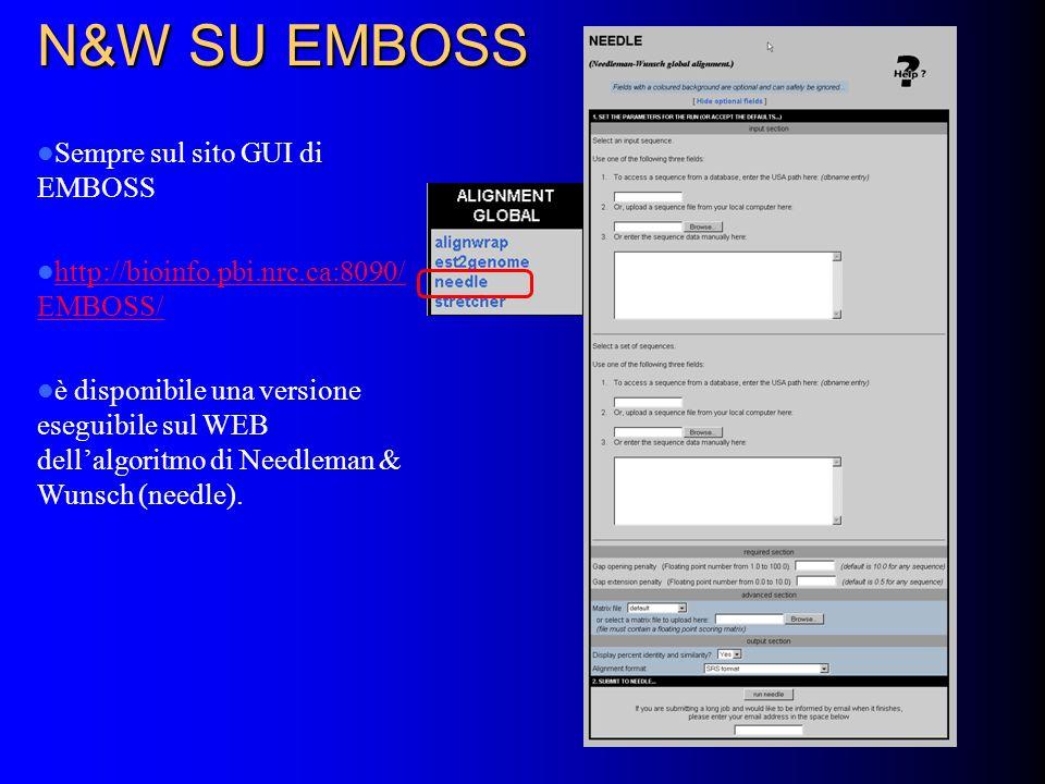 N&W SU EMBOSS Sempre sul sito GUI di EMBOSS