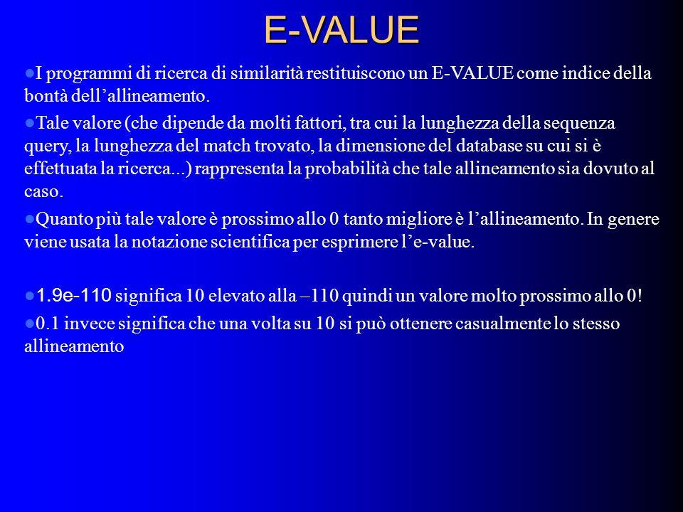 E-VALUE I programmi di ricerca di similarità restituiscono un E-VALUE come indice della bontà dell'allineamento.