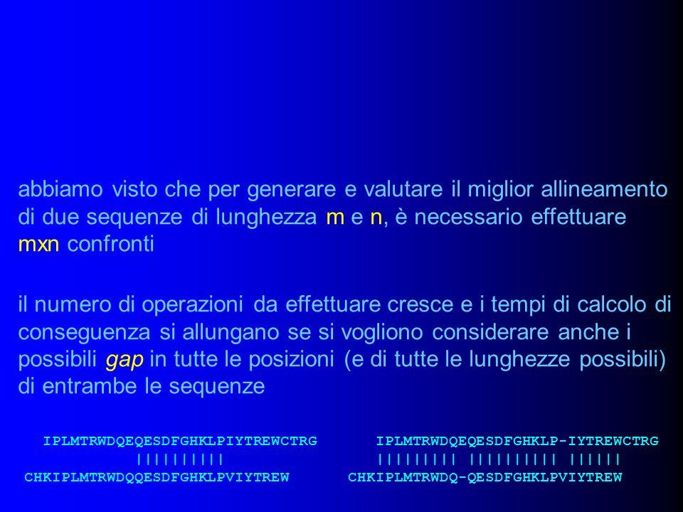 abbiamo visto che per generare e valutare il miglior allineamento di due sequenze di lunghezza m e n, è necessario effettuare mxn confronti