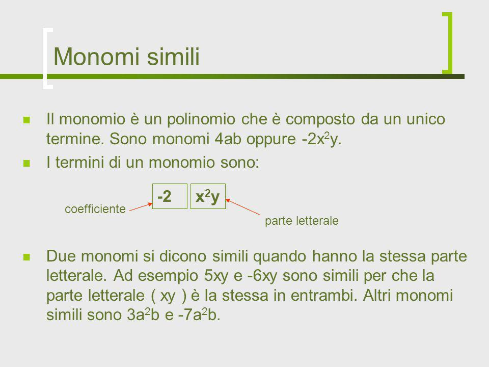 Monomi similiIl monomio è un polinomio che è composto da un unico termine. Sono monomi 4ab oppure -2x2y.