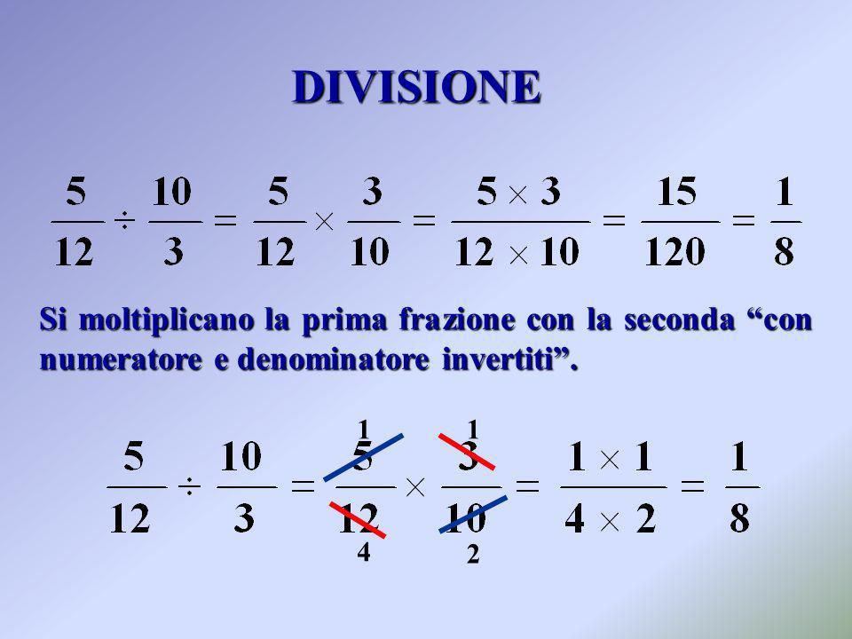 DIVISIONE Si moltiplicano la prima frazione con la seconda con numeratore e denominatore invertiti .