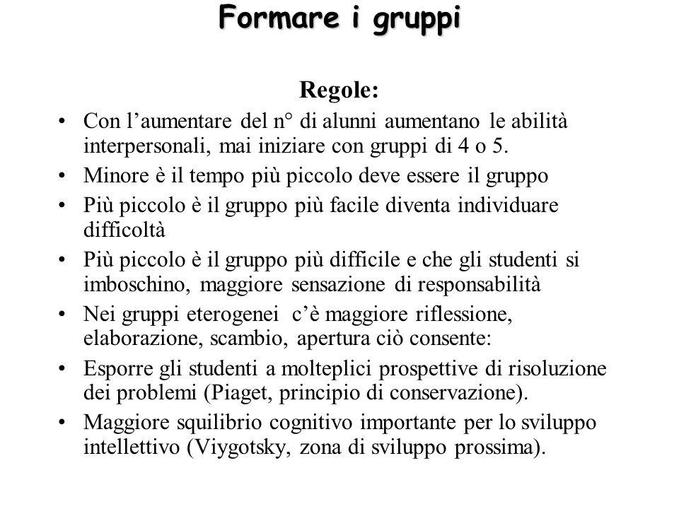 Formare i gruppi Regole: