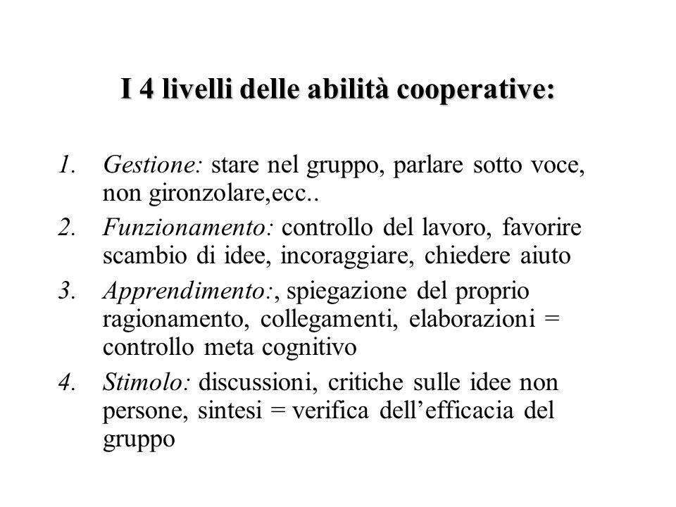 I 4 livelli delle abilità cooperative: