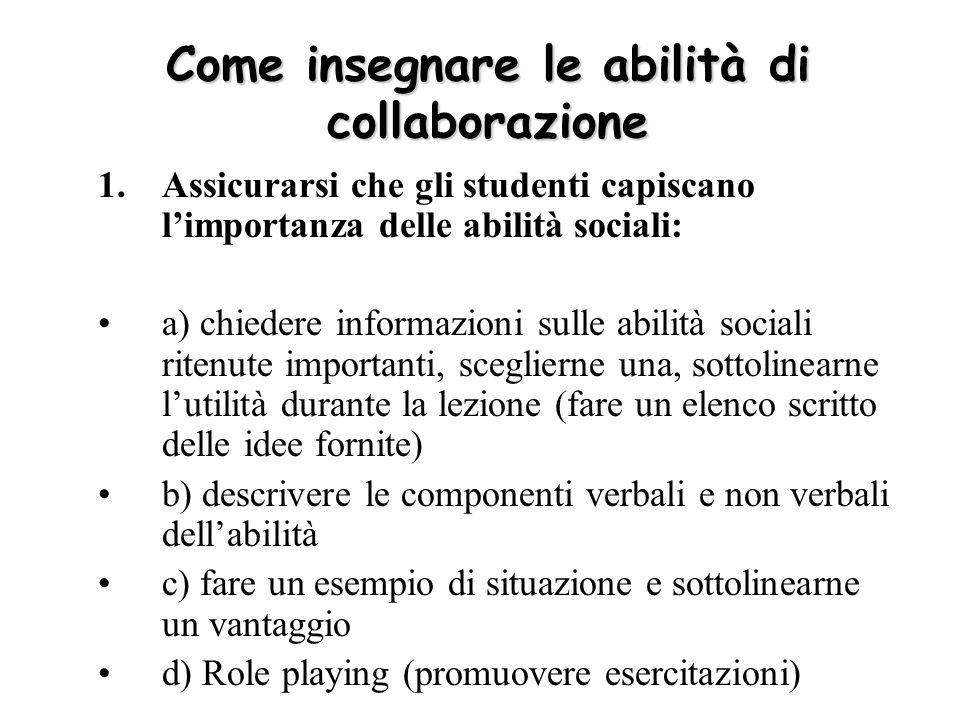 Come insegnare le abilità di collaborazione