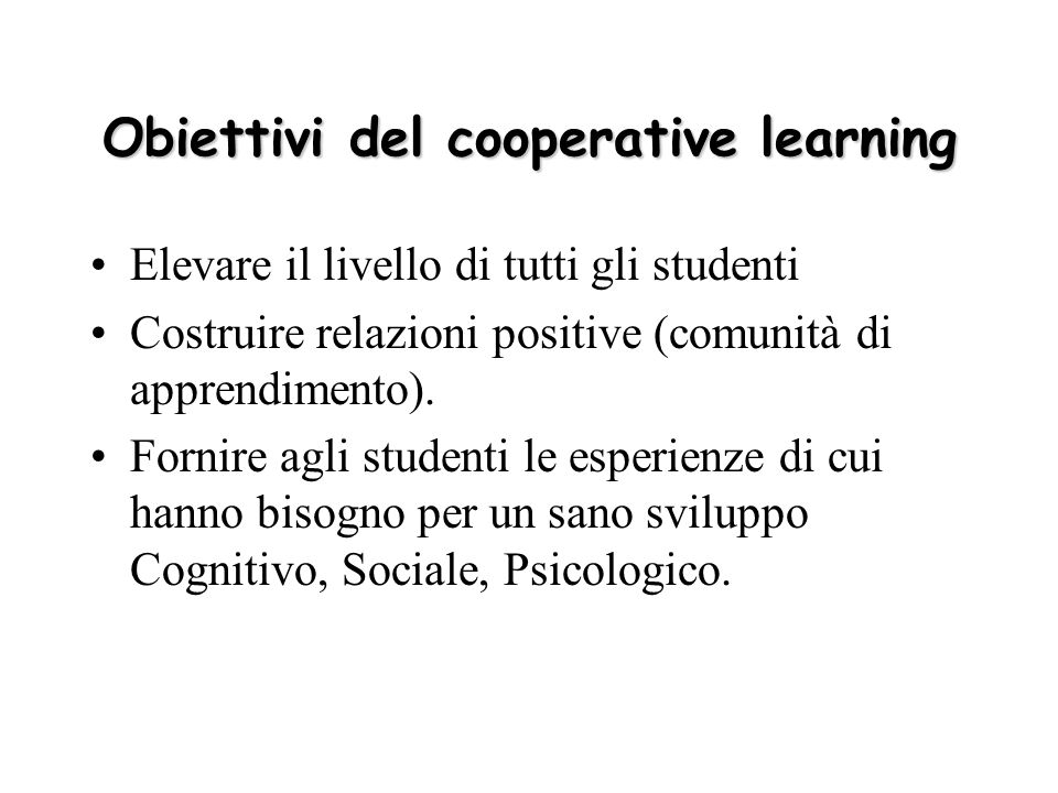 Obiettivi del cooperative learning