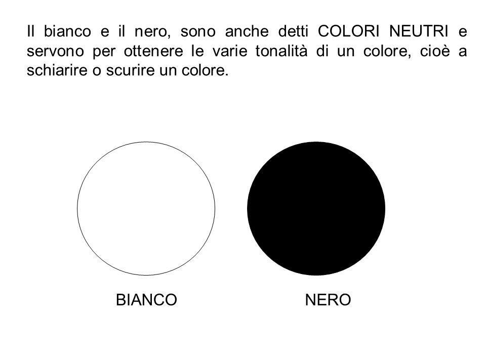 Il bianco e il nero, sono anche detti COLORI NEUTRI e servono per ottenere le varie tonalità di un colore, cioè a schiarire o scurire un colore.
