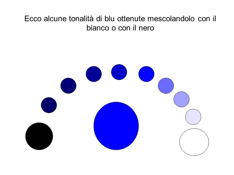 Ecco alcune tonalità di blu ottenute mescolandolo con il bianco o con il nero