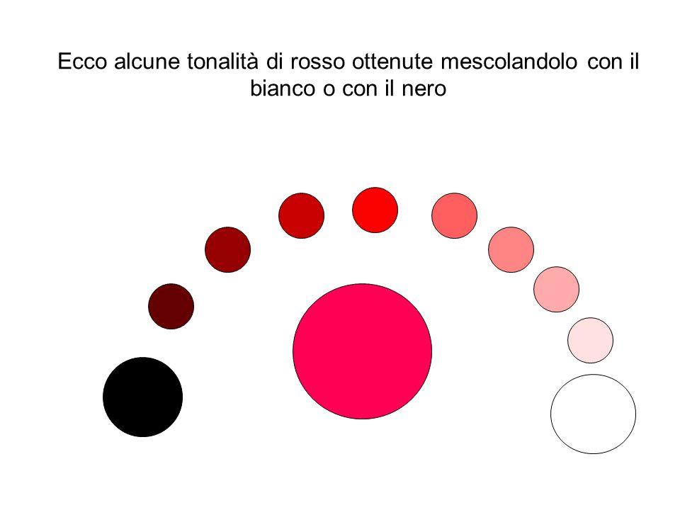 Ecco alcune tonalità di rosso ottenute mescolandolo con il bianco o con il nero