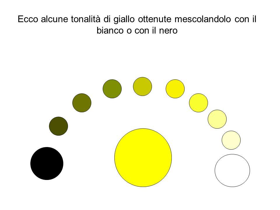 Ecco alcune tonalità di giallo ottenute mescolandolo con il bianco o con il nero