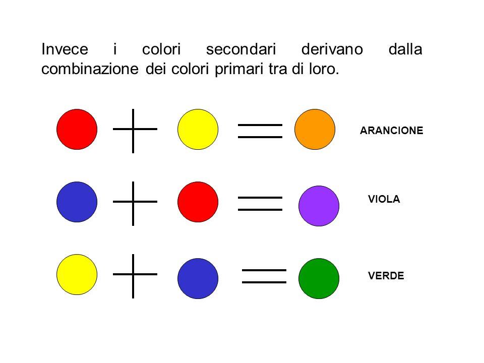 Invece i colori secondari derivano dalla combinazione dei colori primari tra di loro.