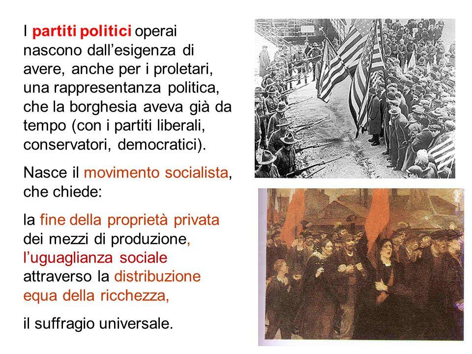 I partiti politici operai nascono dall'esigenza di avere, anche per i proletari, una rappresentanza politica, che la borghesia aveva già da tempo (con i partiti liberali, conservatori, democratici).