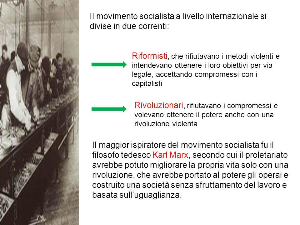 Il movimento socialista a livello internazionale si divise in due correnti:
