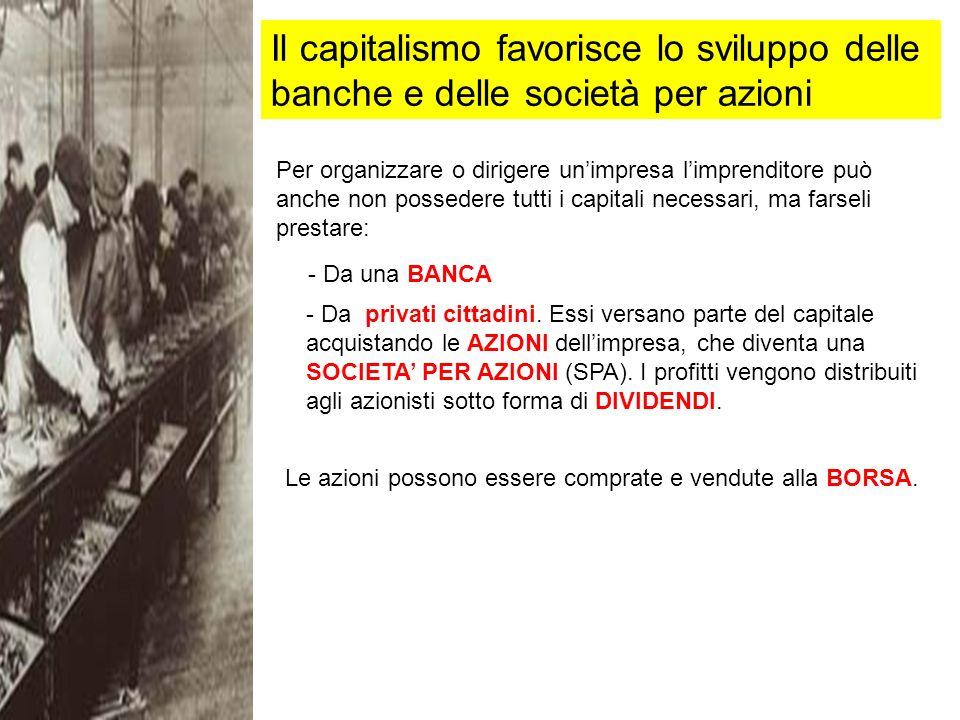 Il capitalismo favorisce lo sviluppo delle banche e delle società per azioni