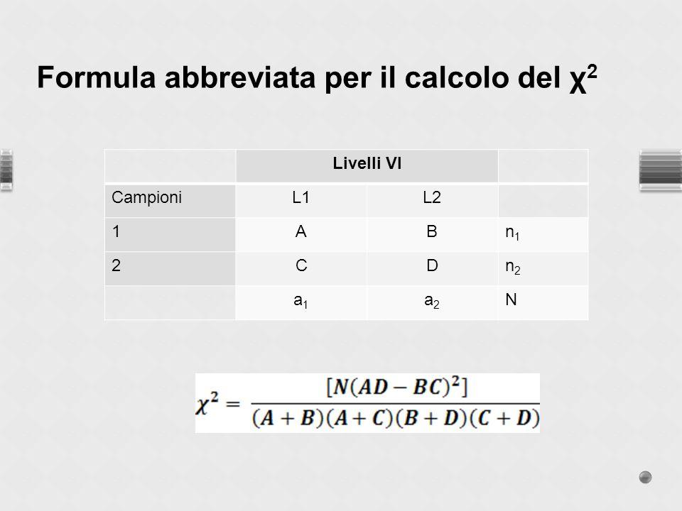 Formula abbreviata per il calcolo del χ2