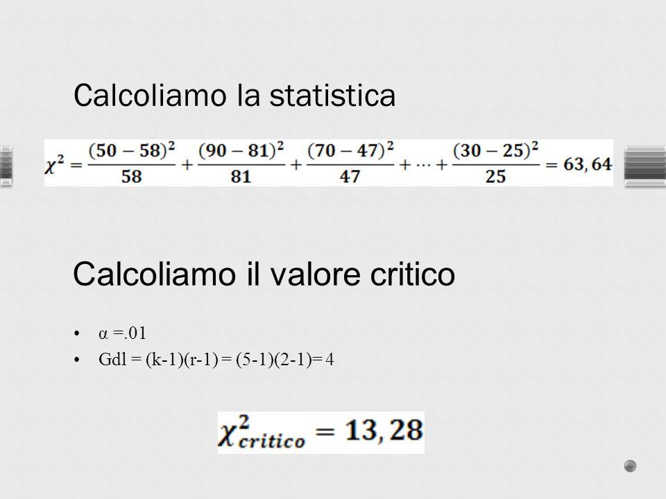 Calcoliamo la statistica