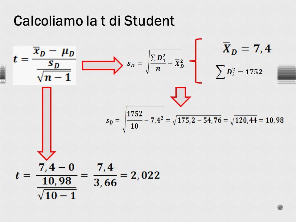 Calcoliamo la t di Student