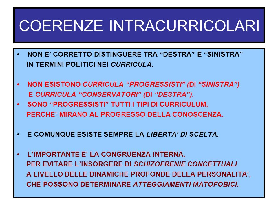 COERENZE INTRACURRICOLARI