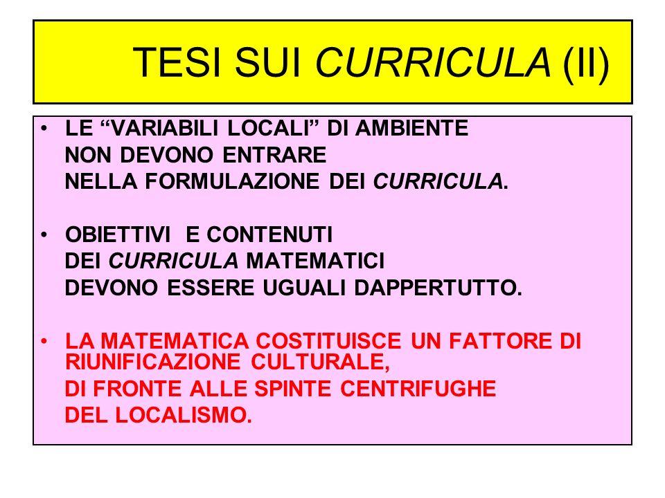 TESI SUI CURRICULA (II)